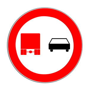 Das Zeichen 277 leitet das Überholverbot für Lkw ein.